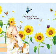 sunflower wall decals sunflower flower vinyl wall stickers for kids rooms home decor child wallpaper art sunflower wall decals