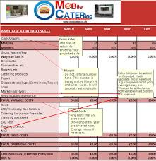 Sample P And L In Excel Mobile Catering Business Plan Profit And Loss Working