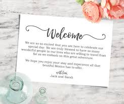 Welcome Card Templates Printable Editable 5x7 Welcome Note Destination Wedding