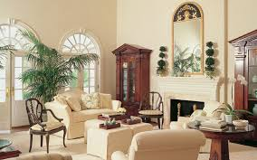Colonial style formal great room with period style mirror