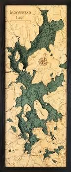 Moosehead Lake 3 D Nautical Wood Chart 13 5 X 31 East