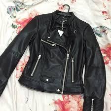 zara trafaluc leather jacket biker women s fashion clothes outerwear on carou
