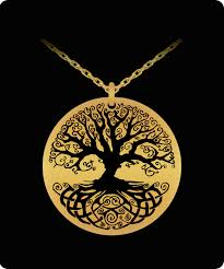 tree of life laser engraved round pendant necklace 18k gold plated front