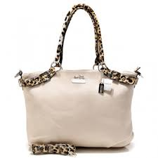 Coach Madison Leopard Large White Satchels ACL