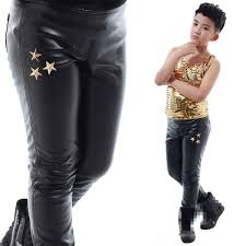 boy leather jazz pants for kids white black tight se