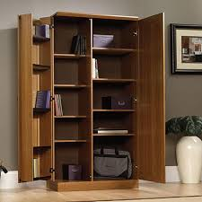 I Simple Home Office With Wooden Self Behind Cabinet Doors And Light Brown  Storage Cabinets Swinging