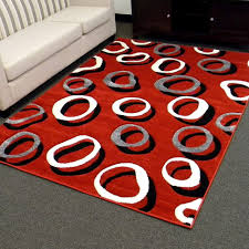 cool area rugs in red with black grey and white circle motif for floor decor ideas home depot wayfair beaulieu fashions flooring charming