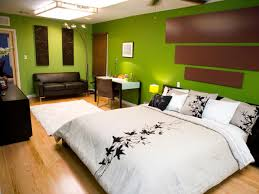 Bedroom:Traditional Basement Bedroom Ideas With Grey Stripped Bedding And  Dark Green Wall Paint Spacious