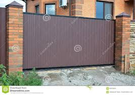 modern metal gate. Brick And Metal Fence With Gate Of Modern Style Design Decorative  Cracked Wall Surface Modern Metal Gate D