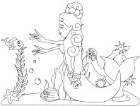 Small Picture Mermaid Coloring Pages