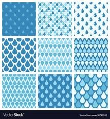 Drops Patterns Classy Set Of Blue Water Drops Seamless Patterns Vector Image