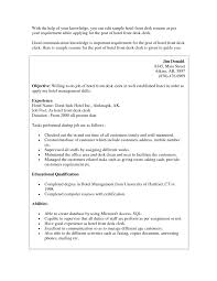 Hotel Front Desk Resume Examples Concierge Objective Sample