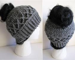 Free Crochet Ponytail Hat Pattern Custom Messy Bun Hat CROCHET PATTERN Pattern For Crochet Ponytail