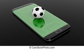 Live football betting concept, online broadcast, blank smartphone display  on classic soccer ball isolated on black background | CanStock