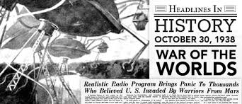 Image result for War of the Worlds' broadcast,