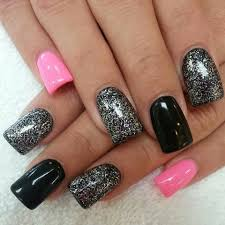 black nails with pink glitter how you can do it at home pictures and silver nail designs