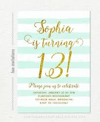 13th Birthday Invitations Girl Mint Stripes Gold Glitter Printable