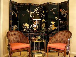 oriental interior decorating, chinese screen and chairs