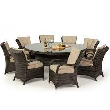 maze rattan garden furniture texas brown 8 seater round table set