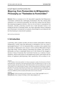 Pdf Meaning From Parmenides To Wittgenstein Philosophy As