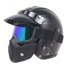 motorcycle helmet half face scooter helmet w face mask leather black m