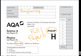 gcse aqa physics june 2016 ph1hp full paper