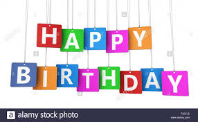 Happy Birthday Sign On Colorful Tags Concept With Word And Letters