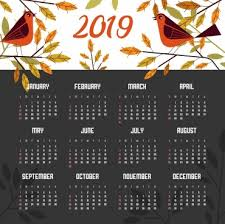 Calendar Template Png 2019 Calendar Template Nature Theme Birds Leaves Icons Png Images