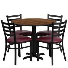 36 round laminate table set with 4 ladder back metal chairs burdy vinyl seat 4 table colors