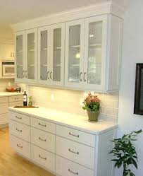 shallow buffet built of white shaker cabinets with textured glass seeded cabinet doors panels for g glass designs for kitchen cabinet doors