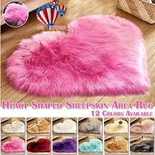 love heart rugs faux fur sheepskin carpet mat plain fluffy soft bed floor rugs