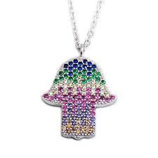 jewish jewelry pendants necklaces multicolor crystal hamsa pendant necklace