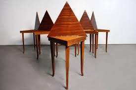 Musical Furniture Pair Of Gorgeous Vintage Reuge Musical Triangle Tables Abt Modern