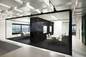office black. Brilliant Black Office Interior Designs With Color Block Theme Black Room Divider  Floor White Chairs White  For
