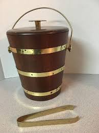 vintage large wooden barrel ice bucket w brass trim tings included