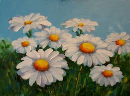 daisies two acrylics on canvas panel 9 x 12