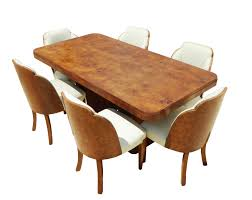 art deco burr walnut dining table 6 chairs by hl epstein fgb adaline and p10 walnut