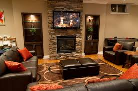 small media room ideas. Small Media Room Ideas With Chic Screen In Brick Wall Facing Black Sofa