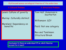 the underclass debate who are the underclass historically the  outline and assess sociological theories of the underclass lewis culture of poverty murray culturally