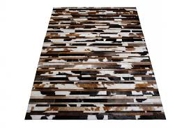 exotic black brown and white leather area rug in stripes 6x6ft shine rugs