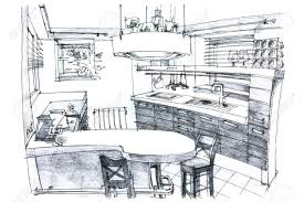 interior design kitchen drawings. Exellent Interior 6 Coolest Modern Kitchen Drawing For Interior Design Drawings