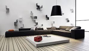 living room wall decor ideas contemporary design white stripped carpet black fabric sofa hanging lamp low