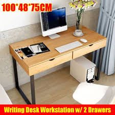 retro home office. Wooden Vintage Computer Desk Retro Home Office Writing Industrial Table 2 Drawer
