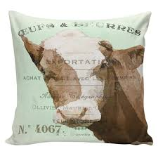 Elliott Heath Designs Throw Pillow Vintage French Spring Jersey Cow Pale Green Antique Document Burlap Cotton Home Decor An0090 Elliott Heath Designs