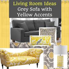 grey sofa living room with yellow accents
