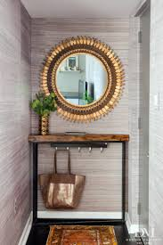 one room challenge the city condo week 6 design entry with gray grasscloth gold sunburst mirror walnut live edge shelf and turkish rug