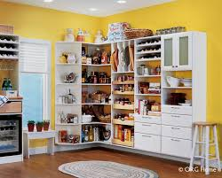 wall mounted white corner shelving and pantry design