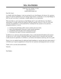 Spa Manager Cover Letter Tirevi Fontanacountryinn Com