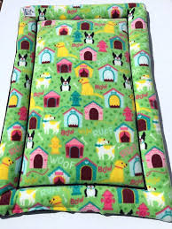 terrier bed yellow green dog crate pad boston bedding crib set