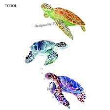 Tcool черепаха временные татуировки наклейки водонепроницаемый женская мода